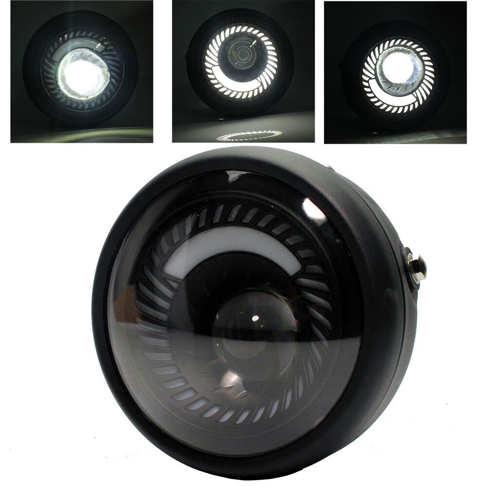6.5'' Motorcycle Cafe Racer Vintage Universal LED Protection Headlight High Low Beam For Harley Choppers Custom Honda Yamaha